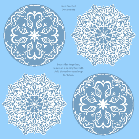 Lace Crochet Ornaments fabric by kdl on Spoonflower - custom fabric