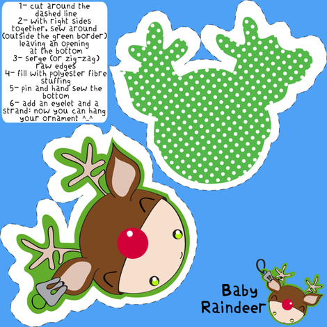 Baby Reindeer ornament fabric by majobv on Spoonflower - custom fabric
