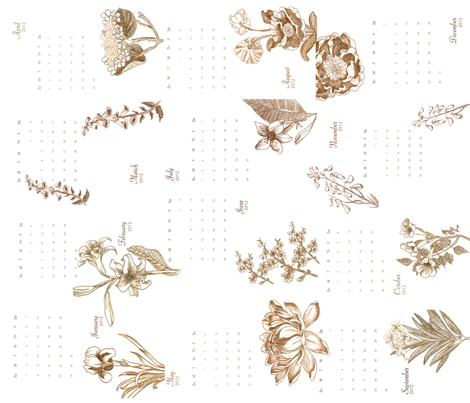 Botanical Tea Towel 2012 fabric by whatsmyfuture on Spoonflower - custom fabric