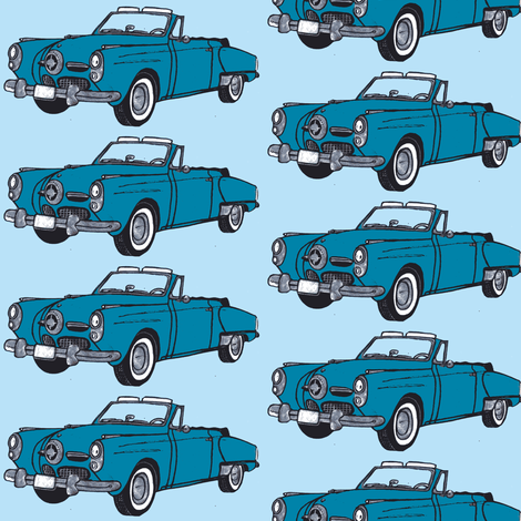 blue 1950 Studebaker convertible on light blue ground fabric by edsel2084 on Spoonflower - custom fabric