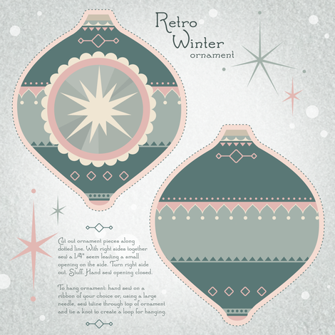Retro Winter Ornament  fabric by theboerwar on Spoonflower - custom fabric