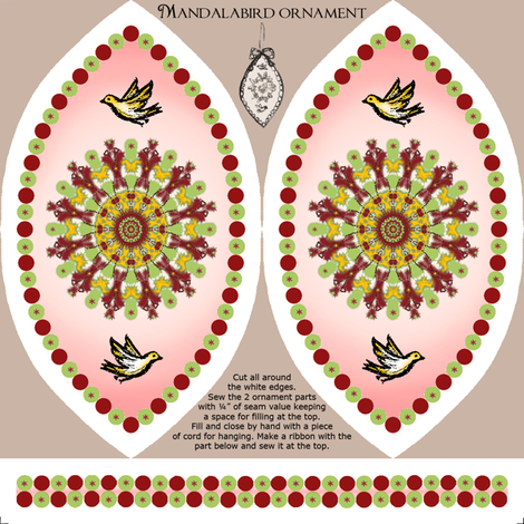 Mandalabird hanging ornament fabric by fantazya on Spoonflower - custom fabric