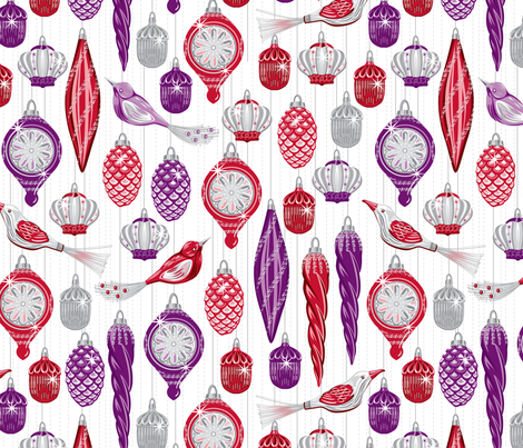 Vintage baubles red fabric by cjldesigns on Spoonflower - custom fabric
