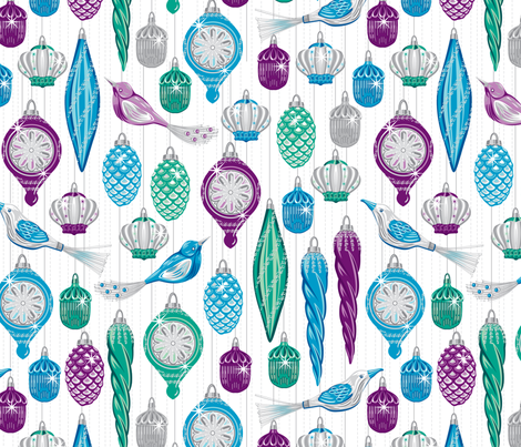 Vintage baubles green fabric by cjldesigns on Spoonflower - custom fabric