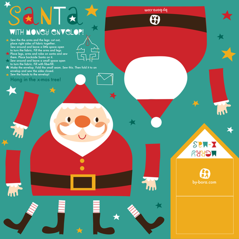 Santa is giving money this year :) fabric by bora on Spoonflower - custom fabric
