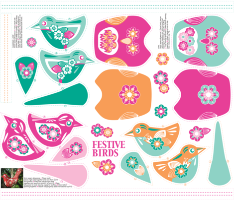 Festive birds hanging ornament bright fabric by cjldesigns on Spoonflower - custom fabric