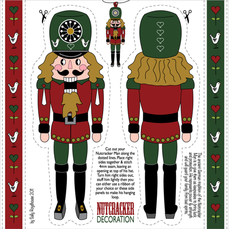 nutcracker_ornament_green fabric by peppermintpatty on Spoonflower - custom fabric