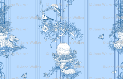 My Garden Toile Stripe Small Blue ©2011 by Jane Walker