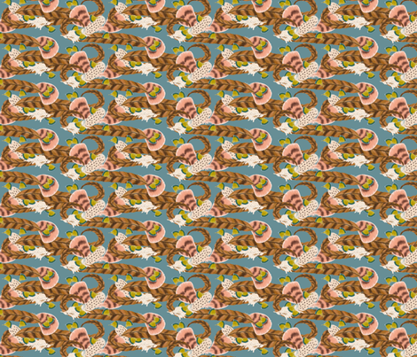 Pheasant Flight in Blue fabric by miart on Spoonflower - custom fabric