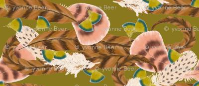 Pheasant Flight in Green