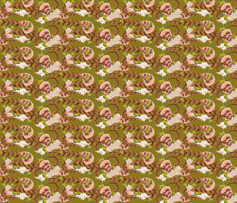 Pheasant Flight in Green fabric by miart on Spoonflower - custom fabric