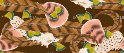 Pheasant Flight in Brown