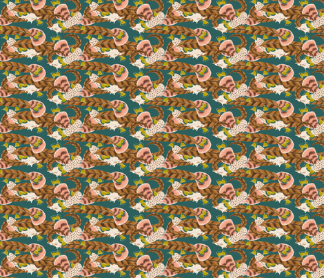 Pheasant Flight in Teal fabric by miart on Spoonflower - custom fabric