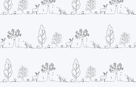 Woodland doodle in black & white fabric by coggon_(roz_robinson) on Spoonflower - custom fabric