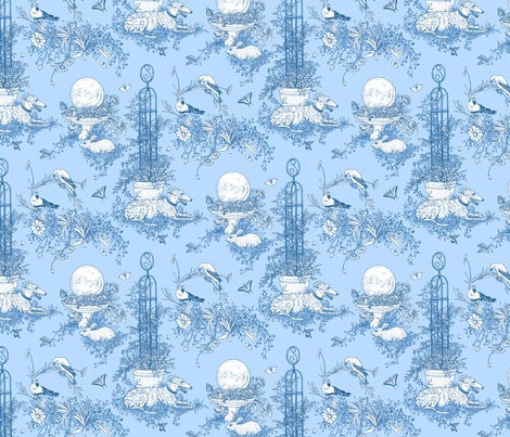 My Garden Toile Main Small Blue ©2011 by Jane Walker fabric by artbyjanewalker on Spoonflower - custom fabric