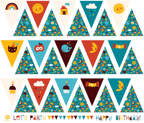 Happy Birthday! bunting fabric by bora on Spoonflower - custom fabric