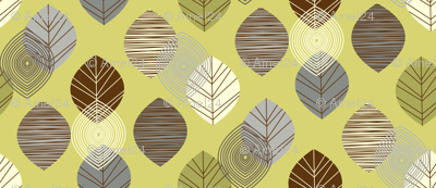 linear leaves neutral wallpaper lime