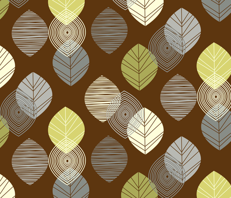 linear leaves neutral wallpaper brown fabric by amel24 on Spoonflower - custom fabric