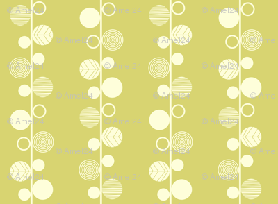 Linear leaves neutral wallpaper lime cream