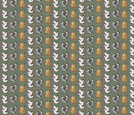 3 French Hens 2 Turtledoves and a Partridge with a Pear fabric by glimmericks on Spoonflower - custom fabric