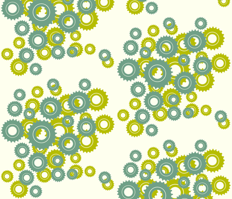 in full bloom - mod blue & green on ivory fabric by fable_design on Spoonflower - custom fabric