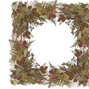 Outside In - Frames & Borders - Green & Rose Leaves & Feathers