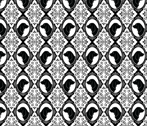 The Regal Basset Hound (Black) fabric by robyriker on Spoonflower - custom fabric