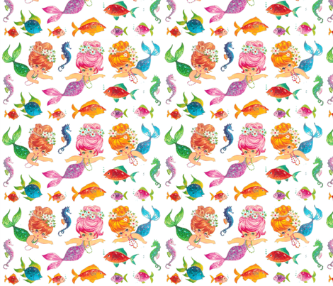 mermaidNEWwhite fabric by parisbebe on Spoonflower - custom fabric
