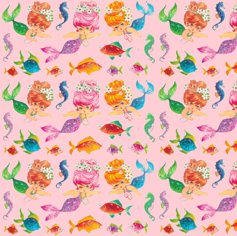 Mermaid Sparkles Pink Paris Bebe fabric by parisbebe_com on Spoonflower - custom fabric