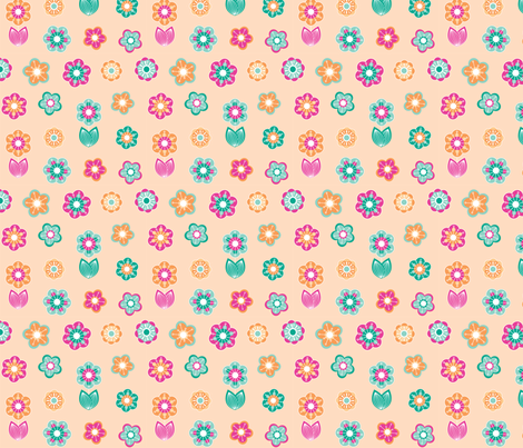 Festive birds floral bright fabric by cjldesigns on Spoonflower - custom fabric