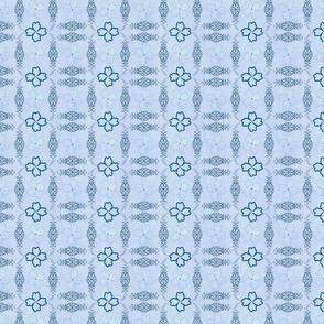 Quatrefoil flourishes -- on blue