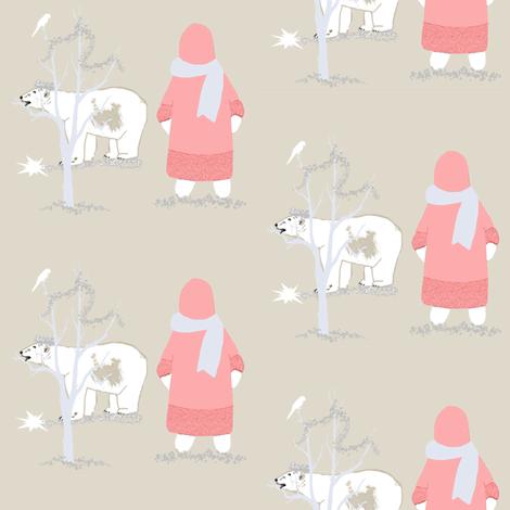 Northern Lights and Polar Bears light fabric by karenharveycox on Spoonflower - custom fabric