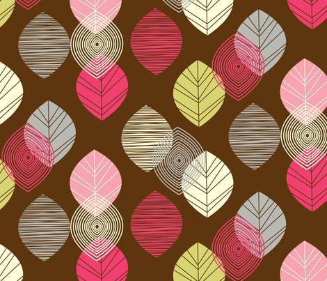 linear leaves bright wallpaper brown fabric by amel24 on Spoonflower - custom fabric