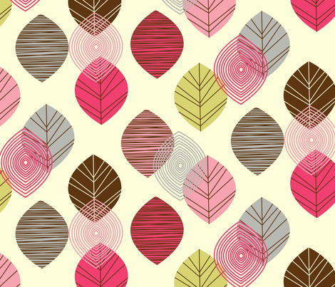 linear leaves bright wallpaper cream fabric by amel24 on Spoonflower - custom fabric