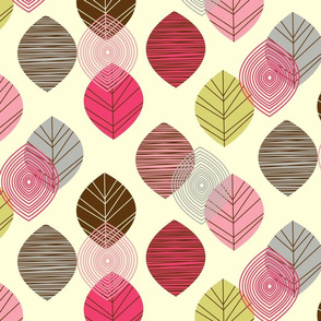 linear leaves bright wallpaper cream