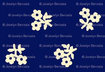 Navy blue & sand flowers