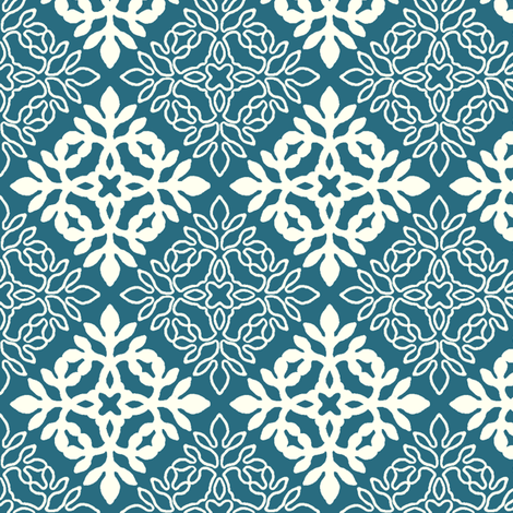 NEW-CLRs-mini-papercut-solid-crm-outlinesDPPEACOCK-ILLUSTR fabric by mina on Spoonflower - custom fabric