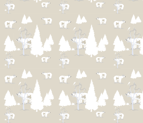 Polar Bear King Repeat fabric by karenharveycox on Spoonflower - custom fabric