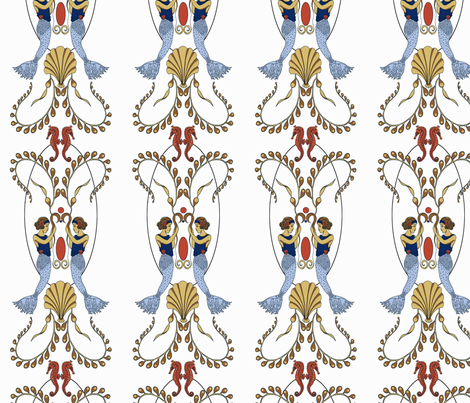 ArtNouveau_mermaids fabric by yvonne_herbst on Spoonflower - custom fabric
