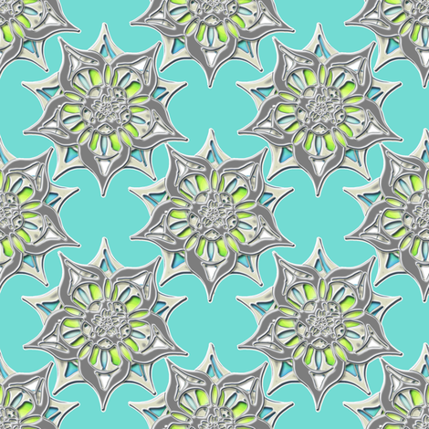Metallic blooms fabric by joanmclemore on Spoonflower - custom fabric