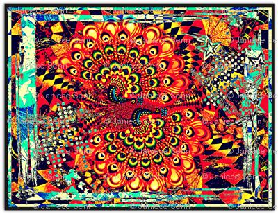 Peacocks On Parade (single panel quilt starter)