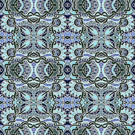 Blue Mosaic Tiled Garden fabric by edsel2084 on Spoonflower - custom fabric