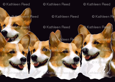 Pembroke welsh corgi fabric