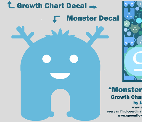 Monsters on the Loose Growth Chart - Blues fabric by jesseesuem on Spoonflower - custom fabric