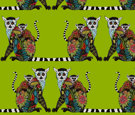 lemur love lime fabric by scrummy on Spoonflower - custom fabric