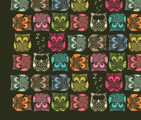 sherbet owls decal fabric by scrummy on Spoonflower - custom fabric