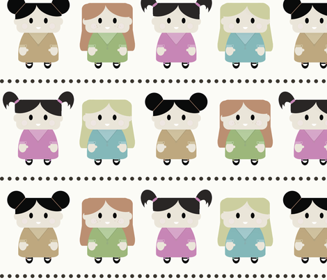 Girls! - large and a lot  less saturated  fabric by jesseesuem on Spoonflower - custom fabric