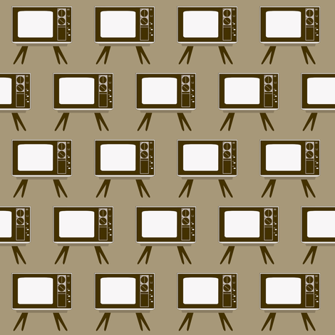 Retro Television Gray Background fabric by dorolimited on Spoonflower - custom fabric