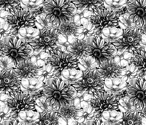 Fleur Noir 2 fabric by nicoletamarin on Spoonflower - custom fabric