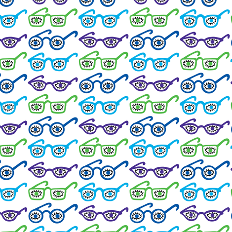 Eyeglasses - 4 eyes - blue fabric by andibird on Spoonflower - custom fabric